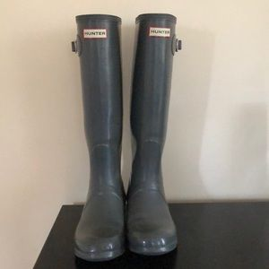 Grey Tall Hunter Rain Boots